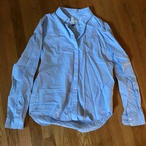 NWT Button Down Long Sleeve Shirt Work Top Blue